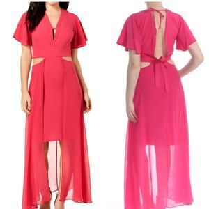 XOXO Raspberry Cut Out High Low Maxi Dress, Small